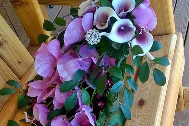 Orchid and calla lily cascading bouquet