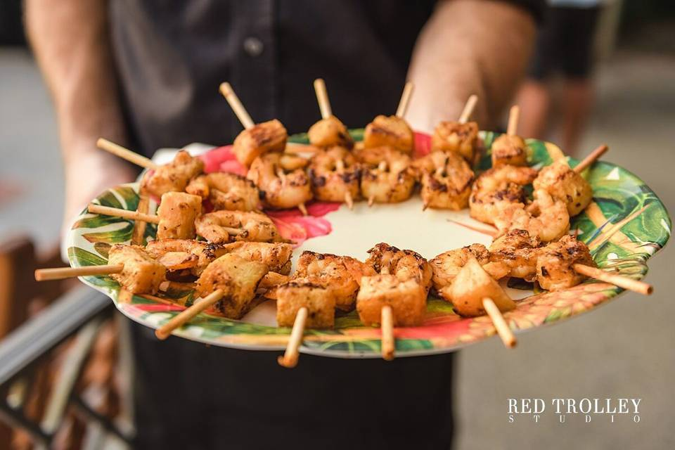 Blackend shrimp with grilled pineapple kabob