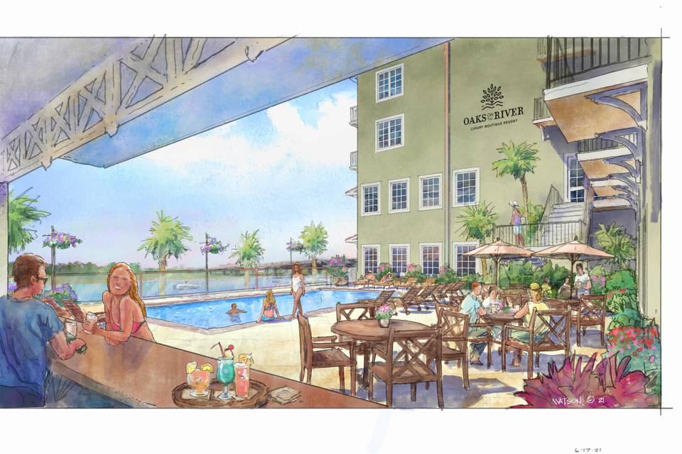 The Mimosa Bar pool deck