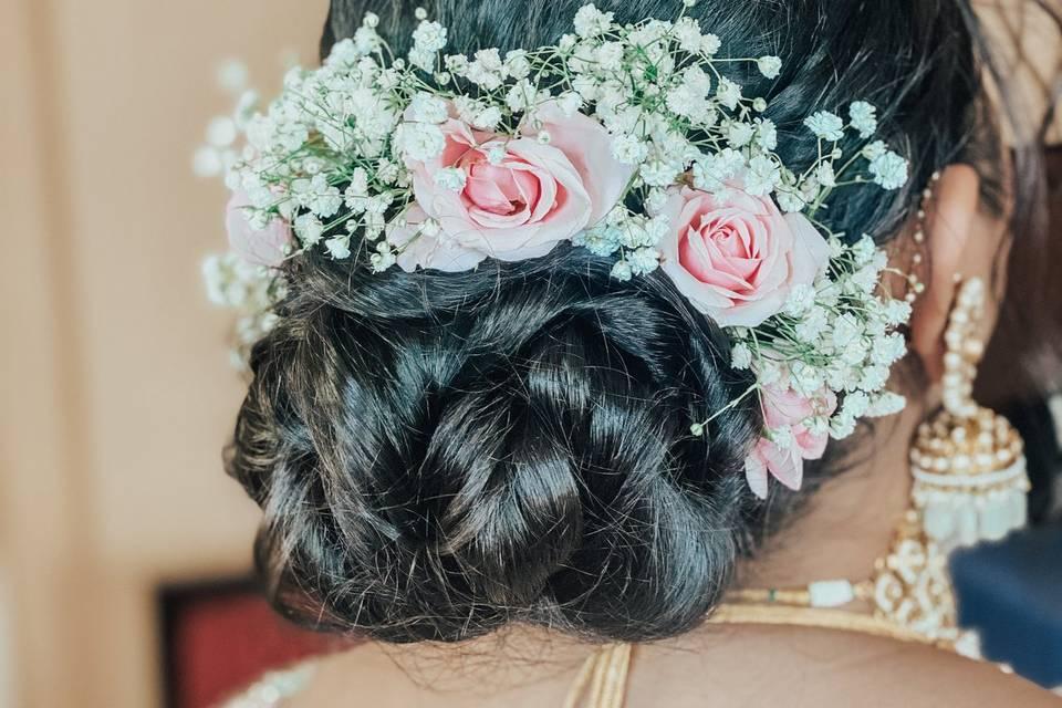 Floral Bun for Indian Wedding