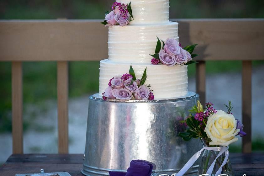 Towering wedding cake