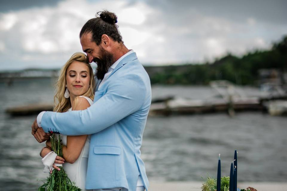 Newlyweds by the waterfront