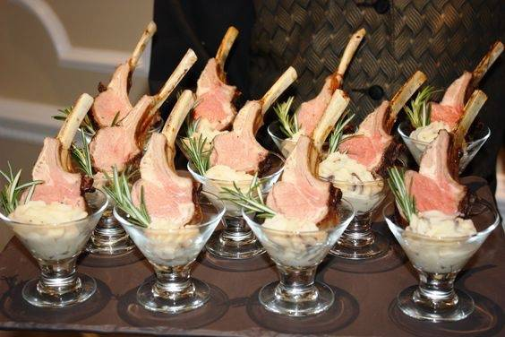 Lamb in martini glasses
