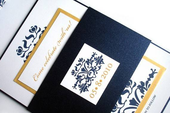 Wedding Invitations -- Brocade Set w/ Belly Band - Metallic Navy Blue Gold. $4.75 per set (50-99) This beautiful Barcode design Wedding Invitation, with metallic gold, and navy belly band is perfect for any wedding. The romantic look of this design will definitely be remembered by all of your guest. This invitation like all of our invitations, can be customized to fit your unique color palette. Coordinating folded or flat thank you cards, reception card, dinner menus, favor tags, save the date cards, are also available in this style. This design can be incorporated onto all of your party stationery if desired.