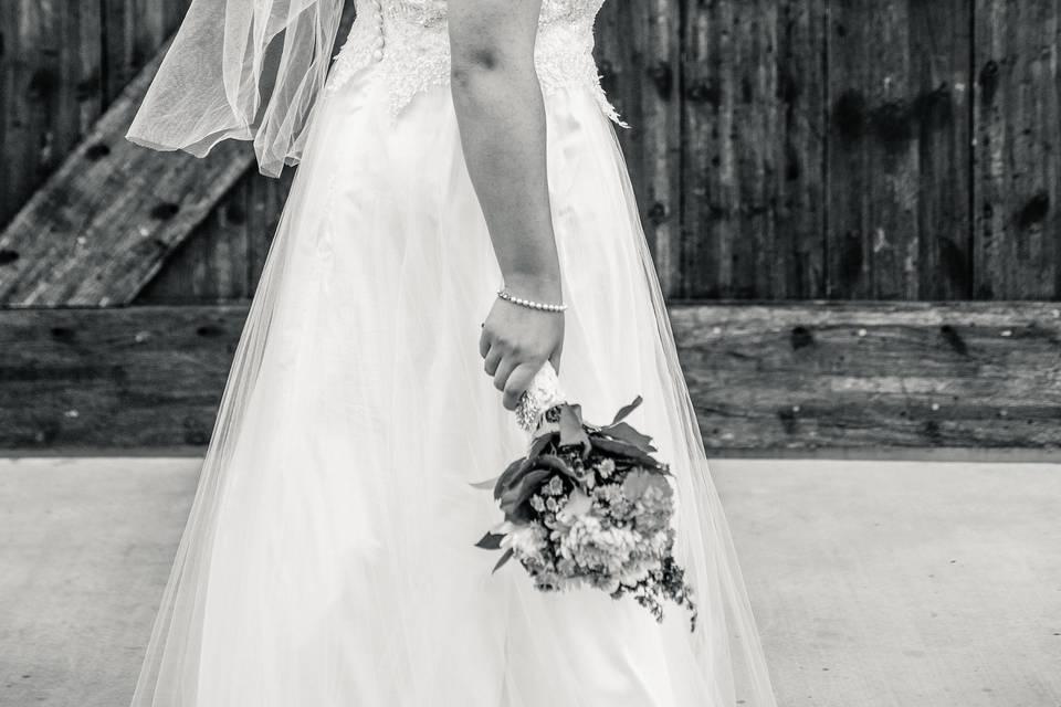 Bride by sliding barn door