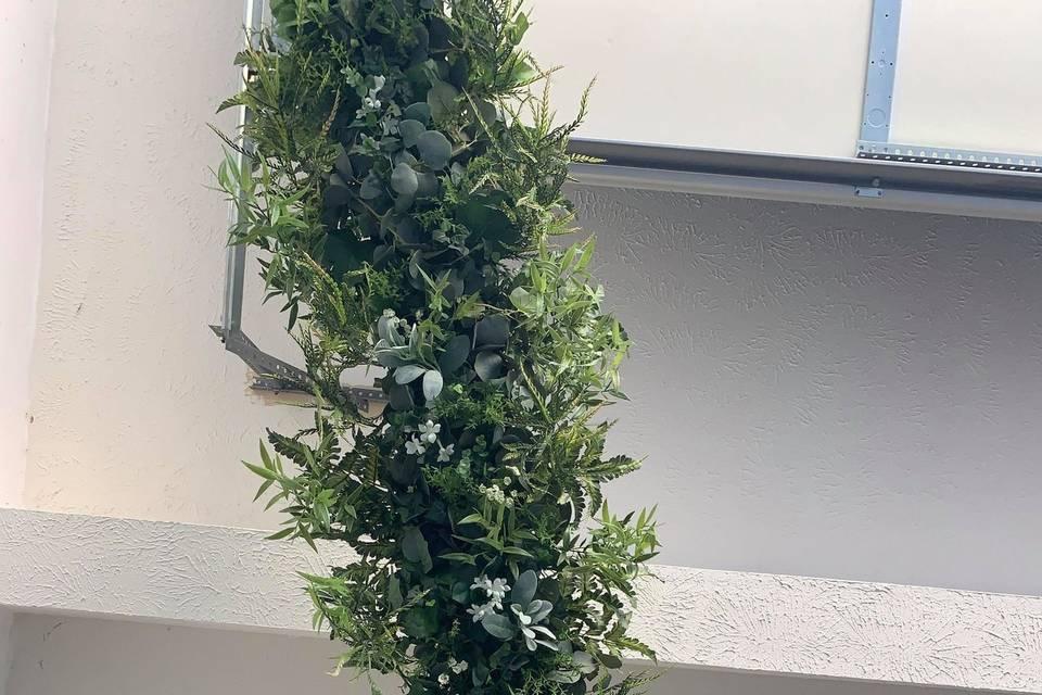 Hanging greenery centerpiece