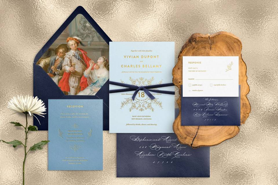 Navy blue with gold foil