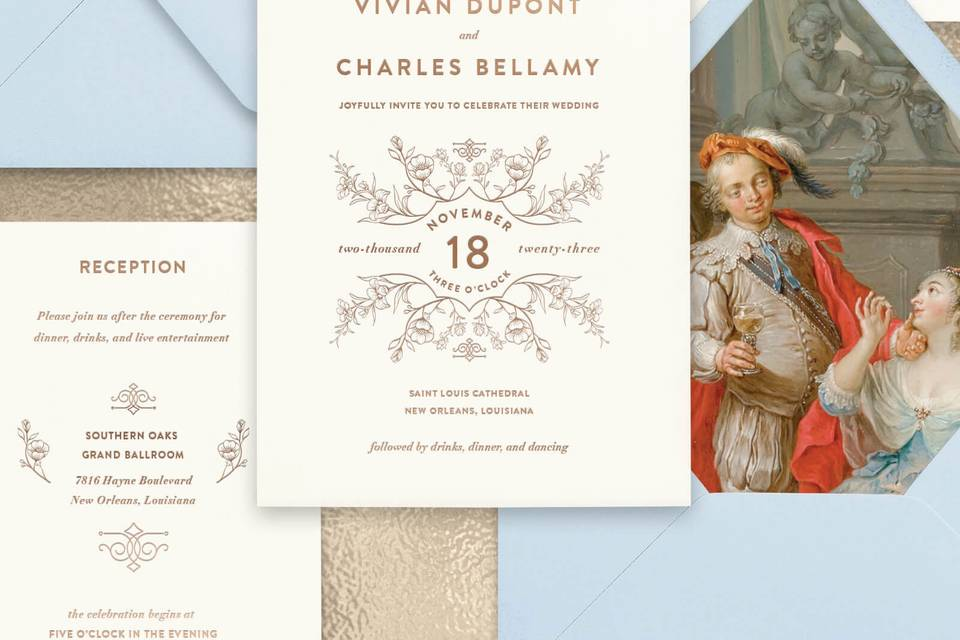 Sky blue & ivory invitation
