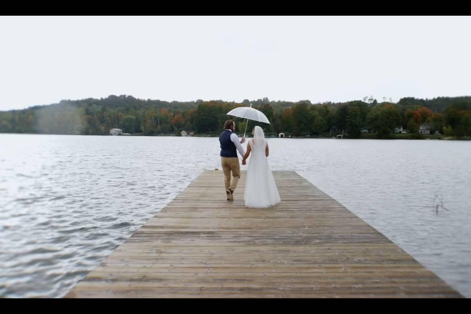 T+K walking on the dock