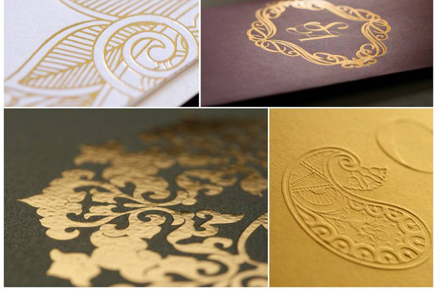 These are examples of gold foil details & embossed details from our work