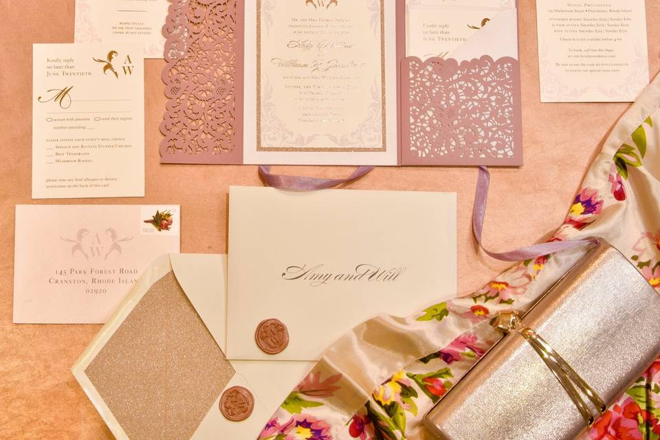 Blush/Rose Gold Invitation Set