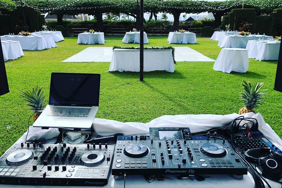 The dj's equiptment