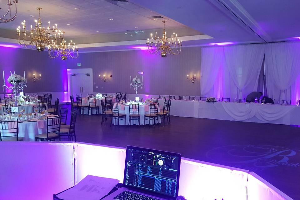 Wedding with monogram and uplighting