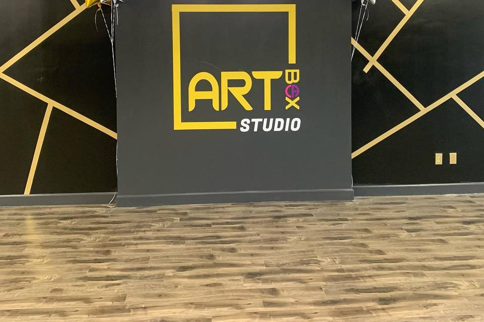 Graphic wall and balloons
