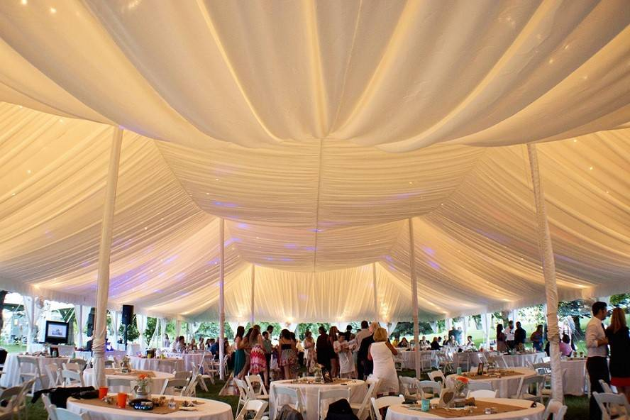 White fabric tent liner