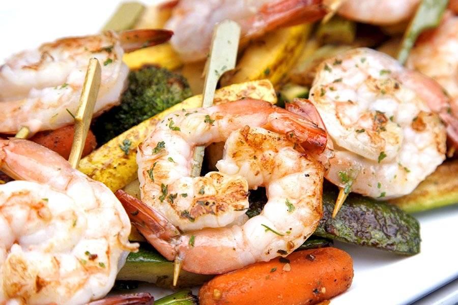 Grilled Shrimp & Veg Skewers