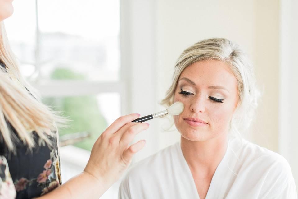 Careful makeup application