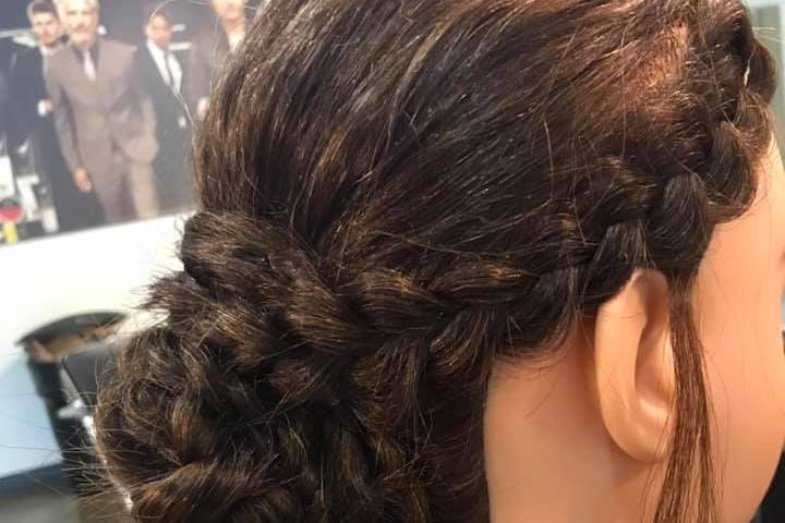 Bridal bun with braids
