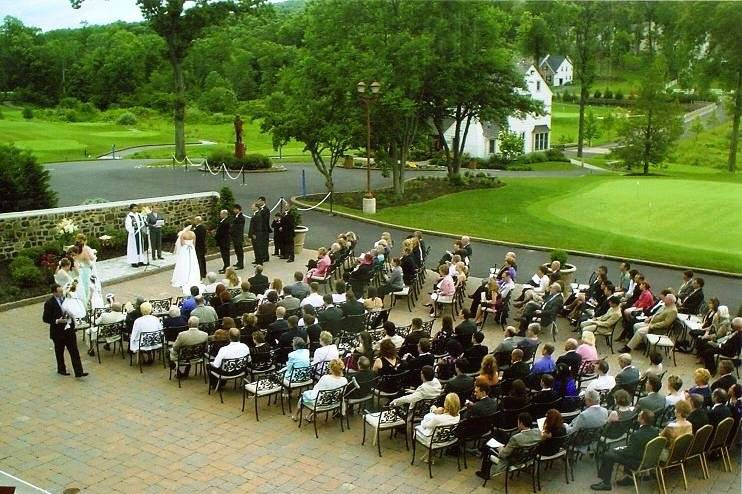 Outdoor ceremony on the main patio