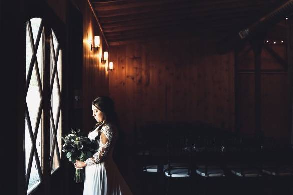 Bridal shot with French doors
