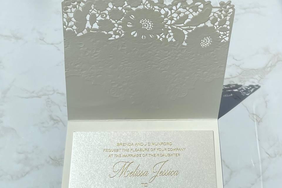 Floral lace fold over invite