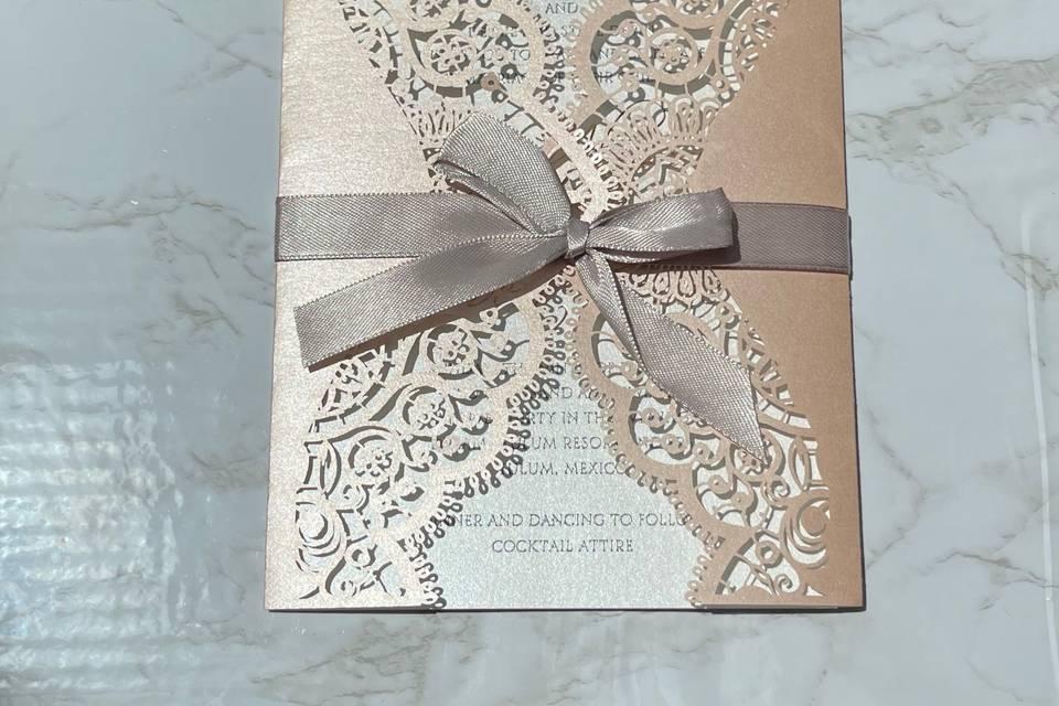 Lace/bow wedding invite