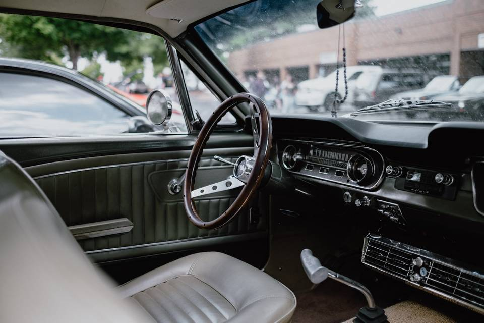 Tan interior with forest green