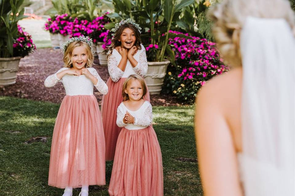 First look with flower girls