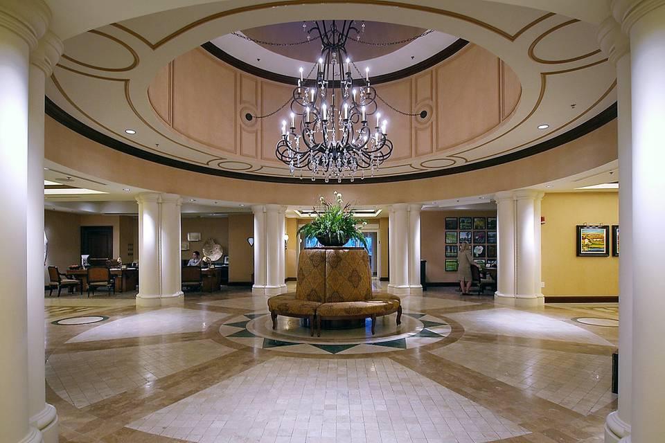The elegant lobby of the marina inn