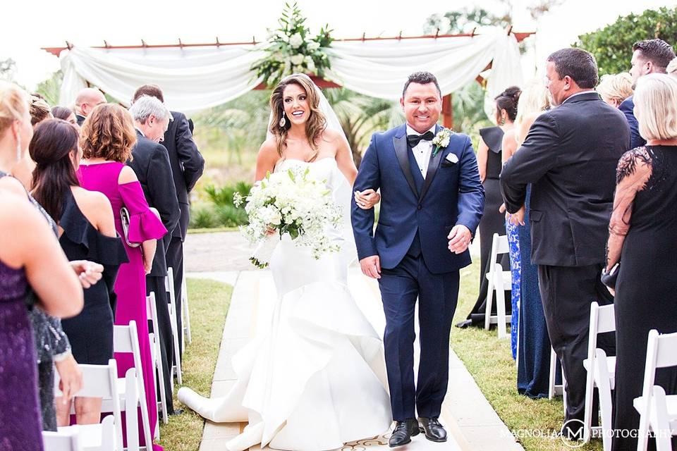 Outdoor wedding ceremony set