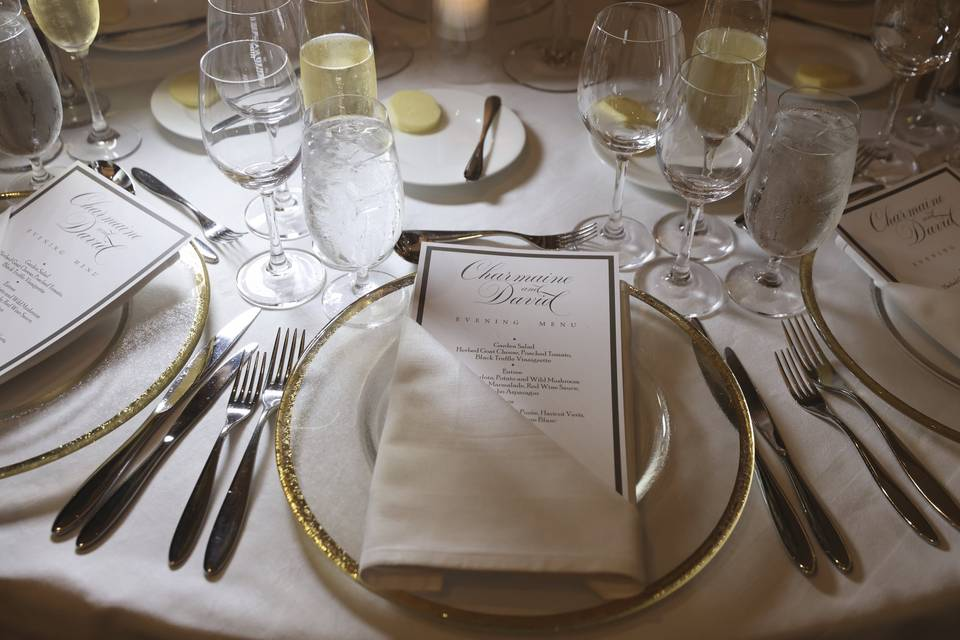 Branded menu for table