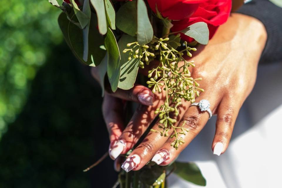 Flowers and engagement ring