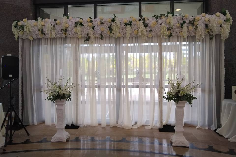 Sheer drape with floral header