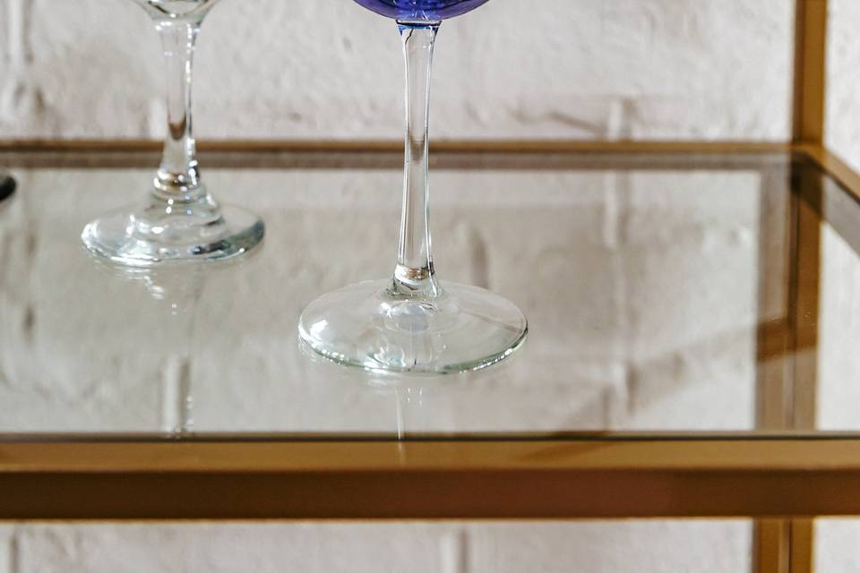 Blue clear stem wine glass