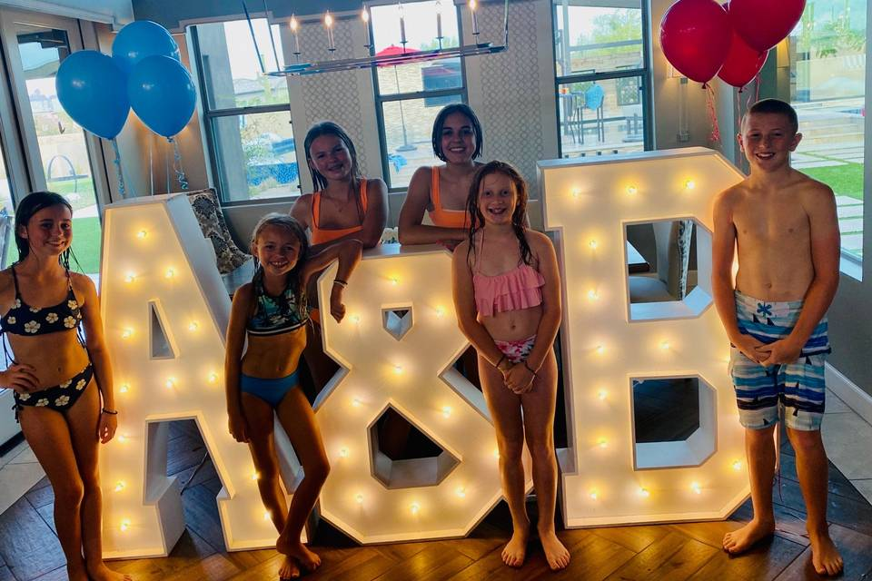 Initials for children's party