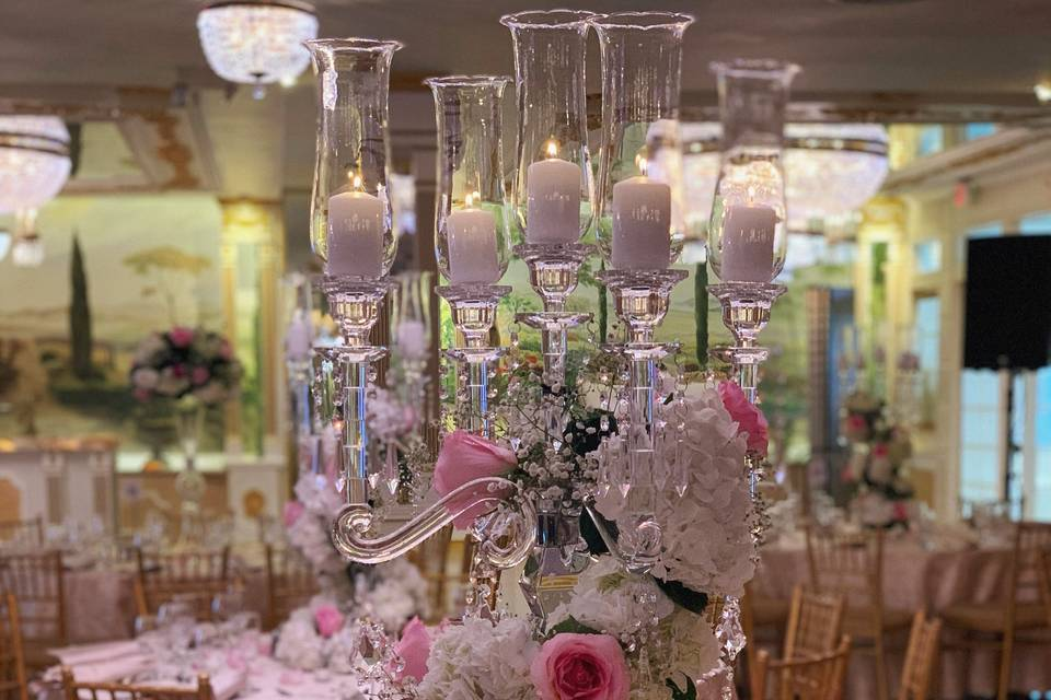 Candelabra wrapped w/ Florals