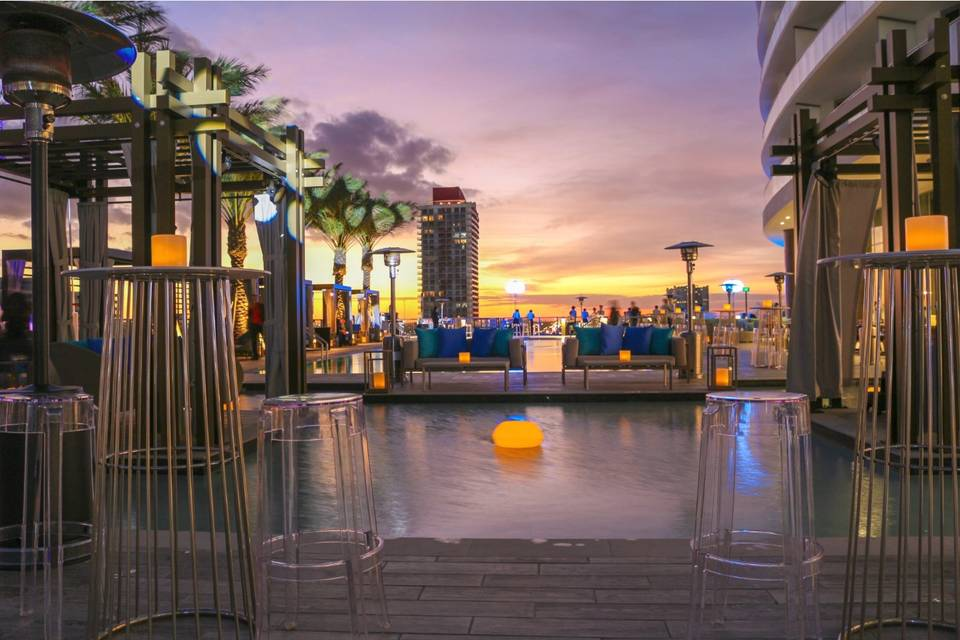 Rooftop sunset view