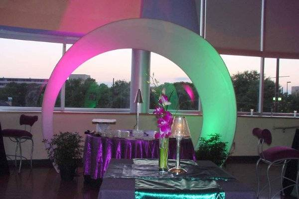 Stretchable Fabric Arch with lighting.