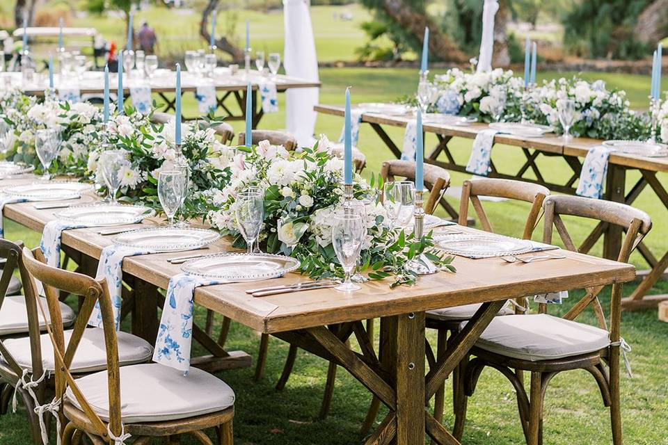 Blue and white reception