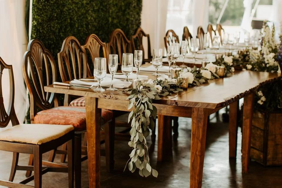 Live wood edge farm tables