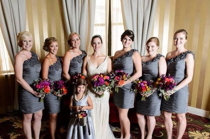 Wedding party pose