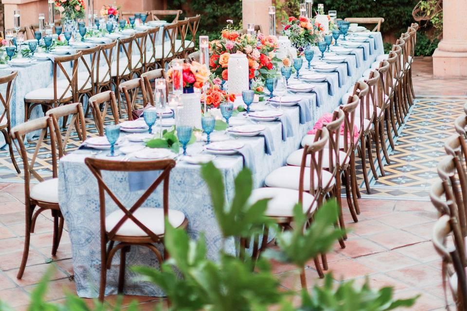 Lush courtyard reception