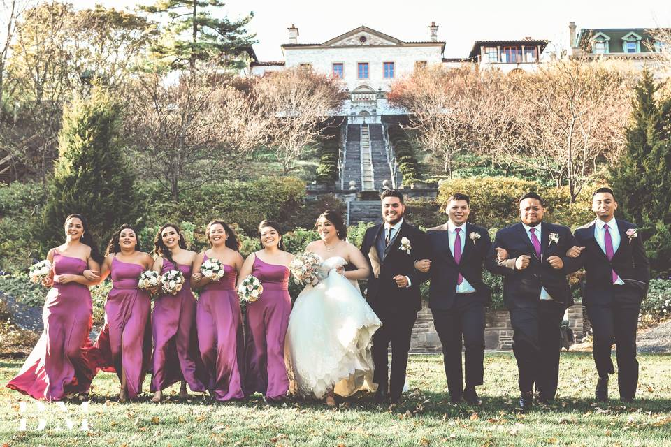 With their wedding party