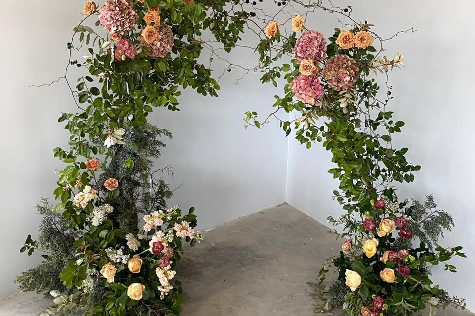 Organic floral arch