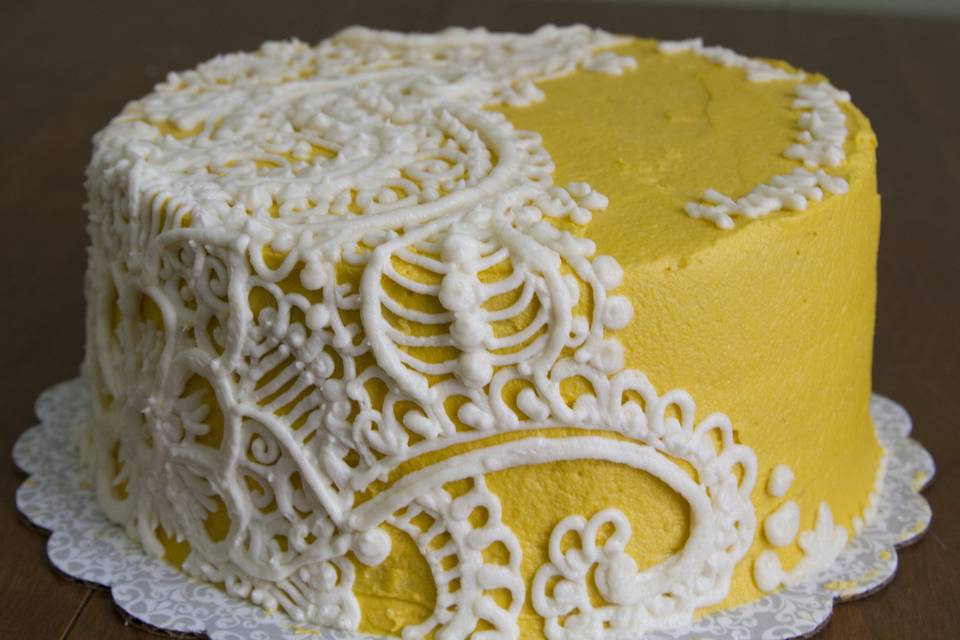 Henna-inspired Lace Cake. Lemon cake, vanilla icing. This style was done completely in buttercream, but could also be done over fondant and/or made into a tiered design.