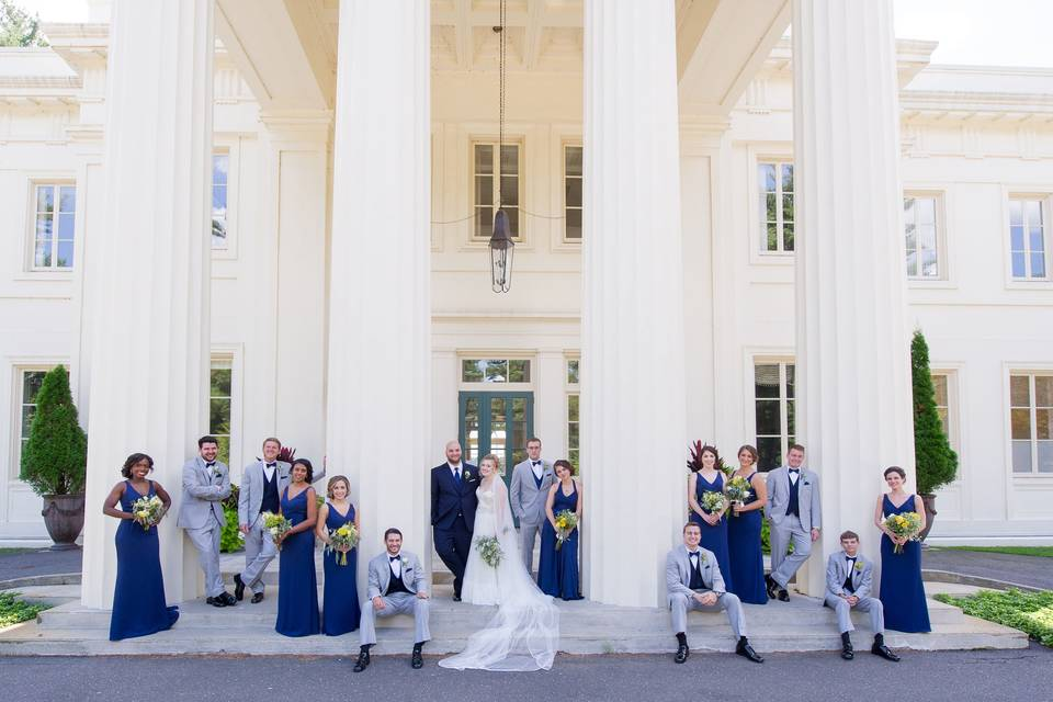 The wedding party in blue