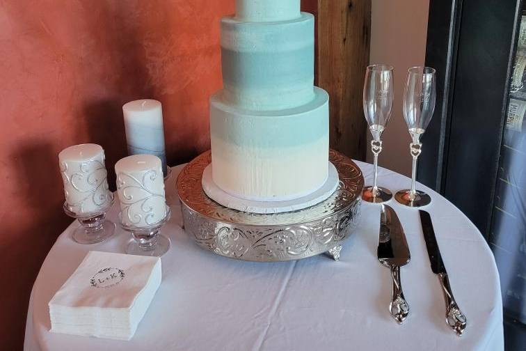 Three tiered ombre cake