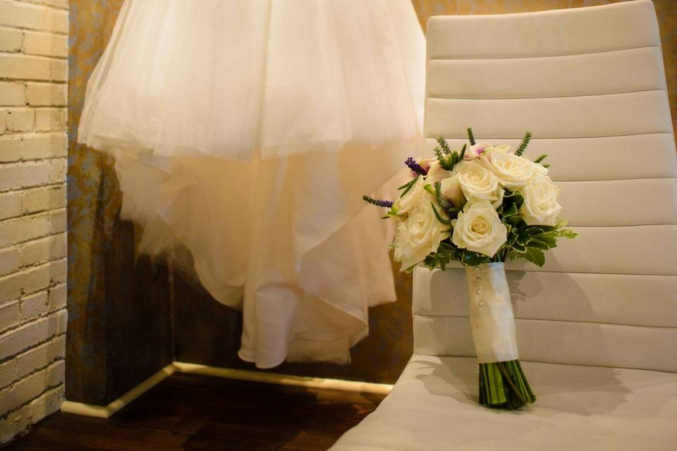 The dress and bouquet