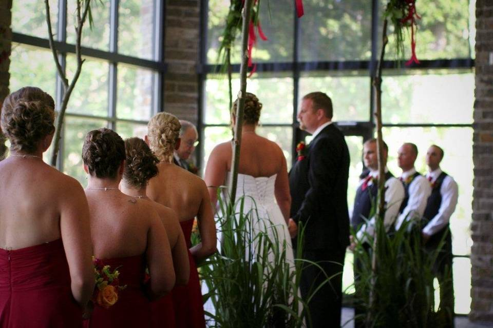 Wedding ceremony held in The Lodge Great Hall