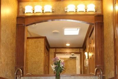 Beautiful double sink on the women's side of the Premier Ritz trailer